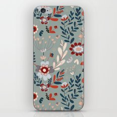 Deep Indigos & Gray Garden Hearts iPhone & iPod Skin
