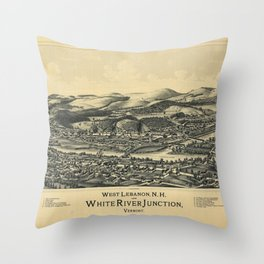 West Lebanon, New Hampshire and White River Junction, Vermont (1889) Throw Pillow