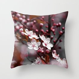 Pink Apple Tree Blossoms Photography Throw Pillow