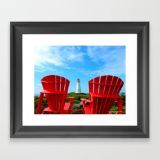 Lighthouse and chairs in Red White and Blue Framed Art Print