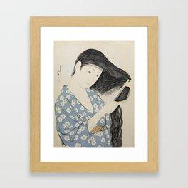Hashiguchi Goyo: Woman Combing Her Hair Japanese Woodblock Print Blue Floral Kimono Black Hair Framed Art Print