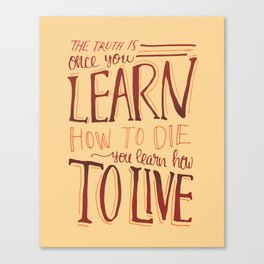 Learn to Live - Natural Canvas Print