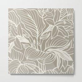 Gray Grey Alabaster Floral Metal Print