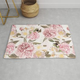 Vintage & Shabby Chic - Antique Sepia Summer Day Roses And Peonies Botanical Garden Rug