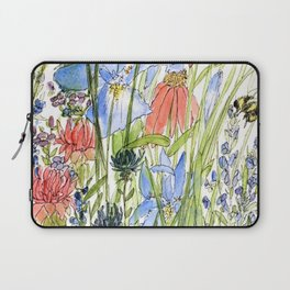 Botanical Garden Wildflowers and Bees Laptop Sleeve