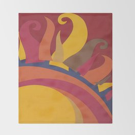 Colorful Sun Vintage Abstract Poster Throw Blanket