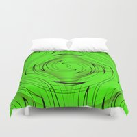 lime green Duvet Covers featuring Lime Green by Sartoris ART