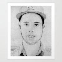 tyler spangler Art Prints featuring Tyler by Joe Cardoso