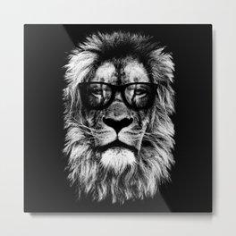 Hipster Lion Black Metal Print