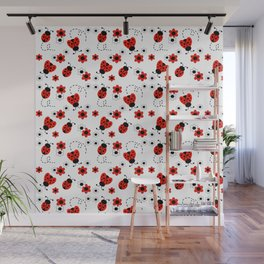 Red Ladybug Floral Pattern Wall Mural