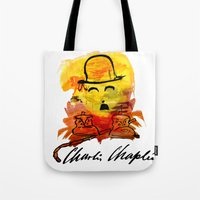 charlie chaplin Tote Bags featuring Charlie Chaplin by Genco Demirer