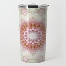 Pink Chrysanthemums Kaleidoscope Art 3 Travel Mug