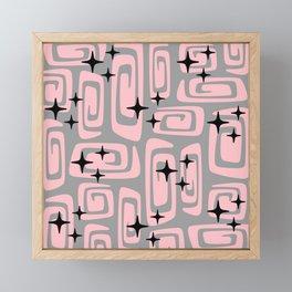 Mid Century Modern Cosmic Galaxies 438 Pink and Gray Framed Mini Art Print