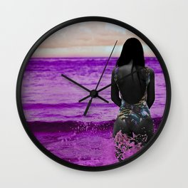 COLOUREDWOMAN - beach , sea , ocean , swim , abstract Wall Clock