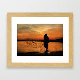 A Fisherman's Sunset Framed Art Print