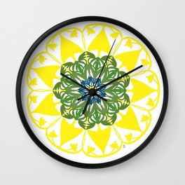 Yellow Green and Blue Mandala Flower Wall Clock