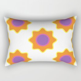 Background in the style of 60x. Stylized flowers on a white background. Rectangular Pillow