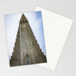 Looking up at Hallgrimskirkja Church in Downtown Reykjavik, Iceland Stationery Cards