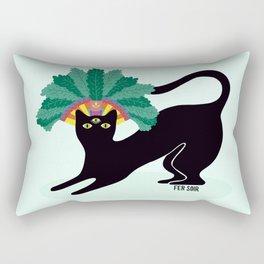 Black cat with third eye Rectangular Pillow