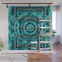 Inner Deck Gold and Turquoise Wall Mural