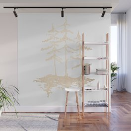 Three Sisters Forest White Gold Trees Wall Mural