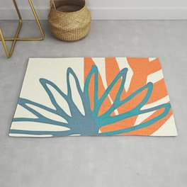 Mid Century Nature Print / Teal and Orange Rug