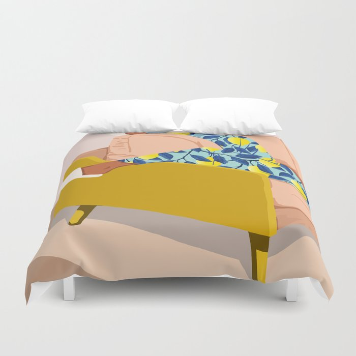 Casual Sunday #illustration #painting Duvet Cover by 83 Orangesa(r) Art Shop - King: 104