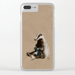 Badger Knitting a Scarf Clear iPhone Case