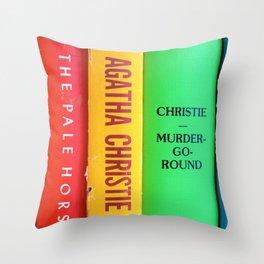 Rainbow Agatha Murder Books Throw Pillow