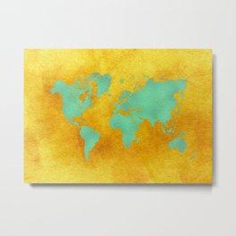 world map gold green #worldmap #map Metal Print