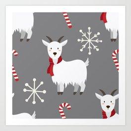 Christmas Candy Goat Art Print
