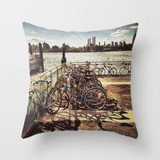 NYC Bikes Throw Pillow