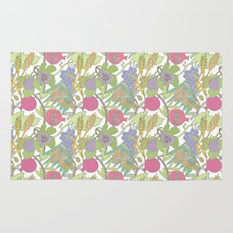 Seven Species Botanical Fruit and Grain with Pastel Colors Rug