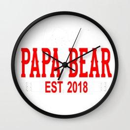 Papa Bear Est 2018 Wall Clock