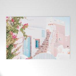 Santorini Greece Mamma Mia Pink House Travel Photography Welcome Mat