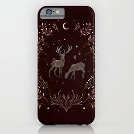 Deers in the Moonlight - Chocolate Brown iPhone Case