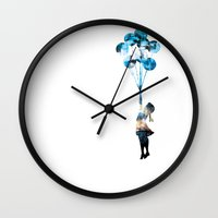 banksy Wall Clocks featuring Banksy Balloon Girl by PupKat