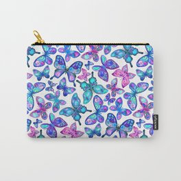 Watercolor Fruit Patterned Butterflies - aqua and sapphire Carry-All Pouch