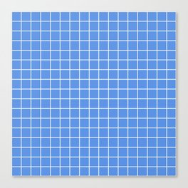 United Nations blue - turquoise color - White Lines Grid Pattern Canvas Print