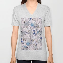Abstract rustic navy blue gray floral pink stripes pattern Unisex V-Neck