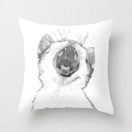 Black and White Sleepy Kitten Throw Pillow