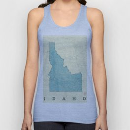 Idaho State Map Blue Vintage Unisex Tank Top