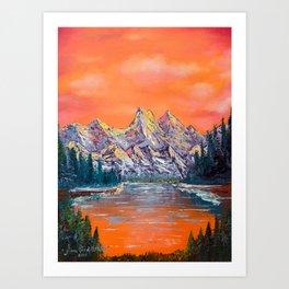 Mountains landscape at sunset Art Print