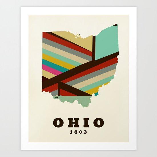 Ohio state map modern Art Print