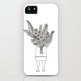 Flowers For You Ink Drawing iPhone Case