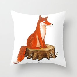 Silly Cute Fox, foxy, illustration, watercolor, wood, adorable, children, kid, decoratin Throw Pillow