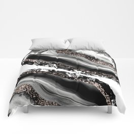 Agate Rose Gold Glitter Glam #3 #gem #decor #art #society6 Comforters