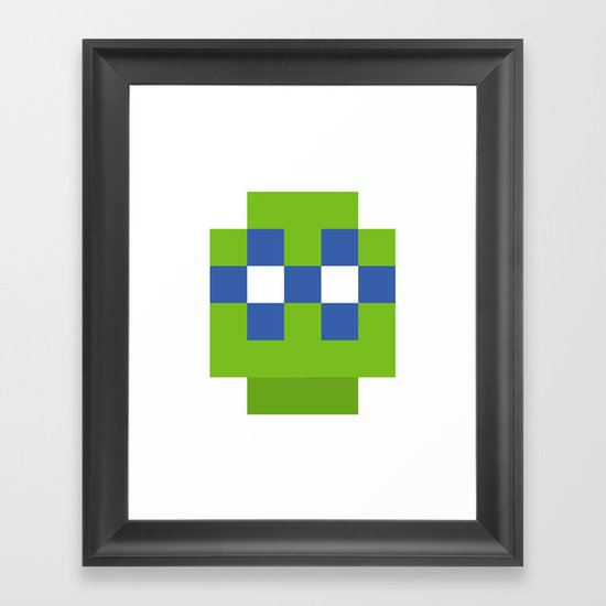 hero pixel green blue Framed Art Print