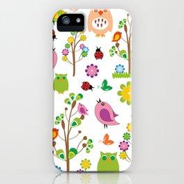 Summer birds pattern iPhone Case