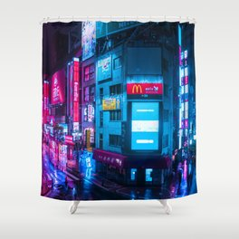 Post Apocalyptic Neon City Blues  - Tokyo Shower Curtain